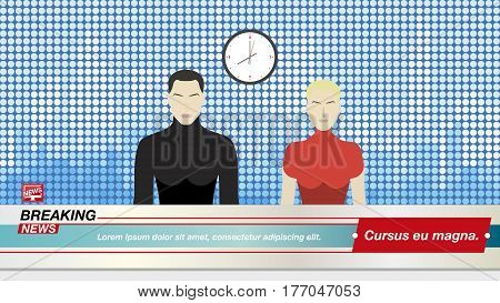 Anchorman's Man And A Woman In Breaking News In The Television Studio. Flat Vector Illustration Eps1