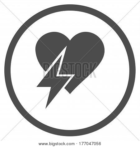 Heart Shock rounded icon. Vector illustration style is flat iconic symbol inside circle, gray color, white background.