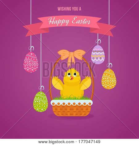Happy easter greeting card. Nestling, sitting in basket against the background of Easter eggs, raises his wings up. Vector illustration. Can be used in banners, brochures, postcards, congratulations.