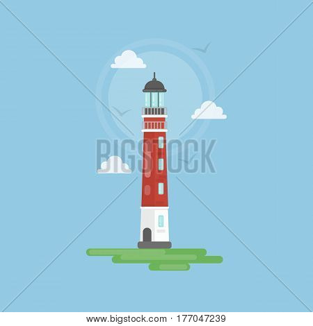 Isolated simple lighthouse with marine landscape as clouds and shore. Concept of tourism, navigation and seaside.