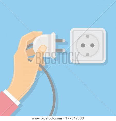 Power plug with socket. Hand holds the plug. Electricity.