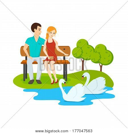 Young couple in love, relax on a bench in a park near a lake with swans. Vector illustration.