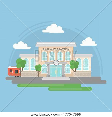 Railway station building. Isolated urban building with sign and window. City landscape with clouds and trees.