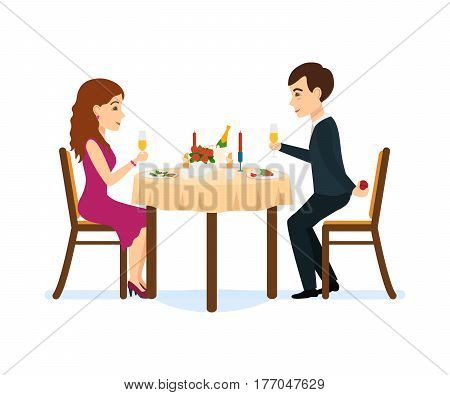 A couple in love in a romantic atmosphere at a festive dinner, drinking champagne, a guy wants to make an offer to a girl. Vector illustration.