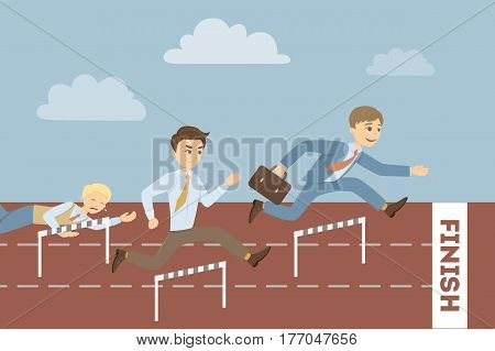 Running businessman on business race. Concept of competition, success and achievement.