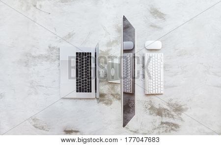 laptop and desktop computer on top view