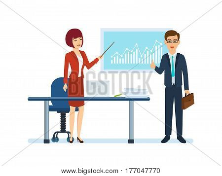 Colleagues near stand and table, girl describes state of affairs in company showing data on the graph, man approves situation, process teamwork and partnership between employees. Vector illustration.