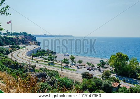 The view of the road and the Mediterranean sea in Antalya, Turkey