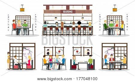 Sushi bar interior set. oriental style. Bar, tables and kitchen. Asian chefs and waitresses. isolated icns.