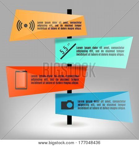 Set of bright paper elements info graphics. Business concept with four options vector illustration.