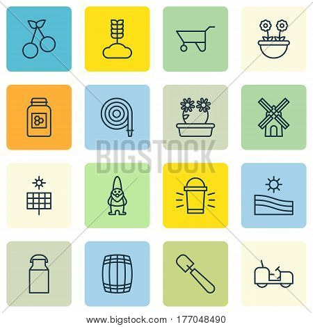 Set Of 16 Planting Icons. Includes Sun Power, Jar, Shovel And Other Symbols. Beautiful Design Elements.