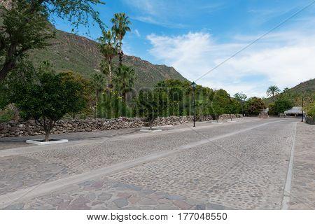 Cobblestone street San Javier near Loreto Baja California Mexico