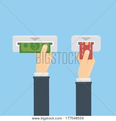 Atm with money and credit card. Ways of transaction and transfering money.