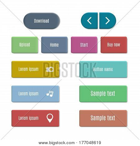 Stylish multicolored web buttons with 3d effect isolated on white background. Design elements of website and interfaces vector illustration.