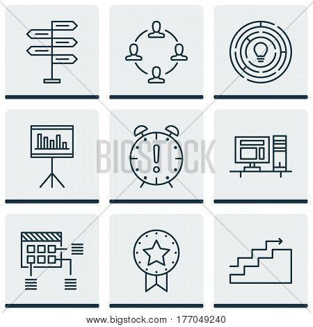 Set Of 9 Project Management Icons. Includes Time Management, Innovation, Present Badge And Other Symbols. Beautiful Design Elements.