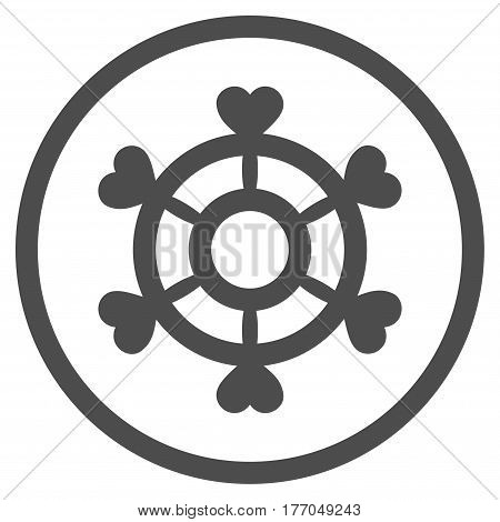 Lovely Boat Steering Wheel rounded icon. Vector illustration style is flat iconic symbol inside circle, gray color, white background.
