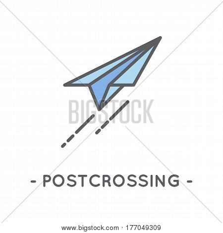 Universal minimal color paper plane line icon on white background