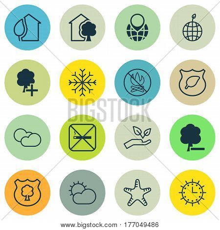 Set Of 16 Ecology Icons. Includes Sea Star, Cloud Cumulus, Timber And Other Symbols. Beautiful Design Elements.