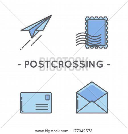 Universal minimal color postage stamp line icon set on white background