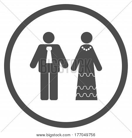 Newlyweds rounded icon. Vector illustration style is flat iconic symbol inside circle, gray color, white background.