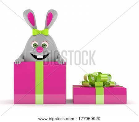 3D Rendering Of Easter Bunny In Present