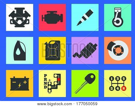 12 Service Car Flat Icon. Vector Illustration.