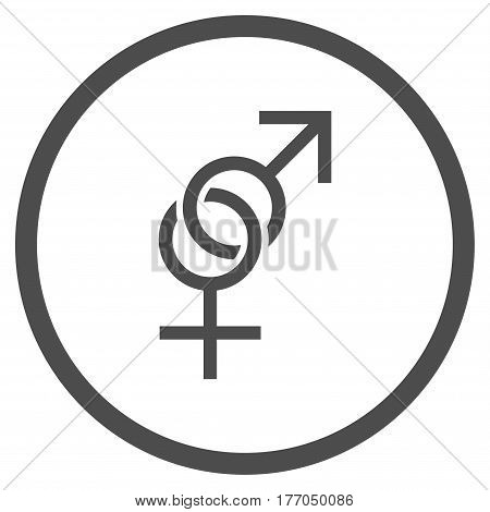 Sex Symbol rounded icon. Vector illustration style is flat iconic symbol inside circle, gray color, white background.