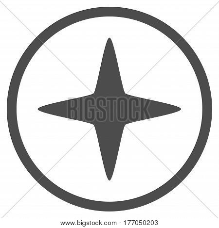 Sparkle Star rounded icon. Vector illustration style is flat iconic symbol inside circle, gray color, white background.