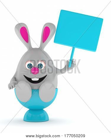 3D Rendering Of Easter Bunny With Advertising Board