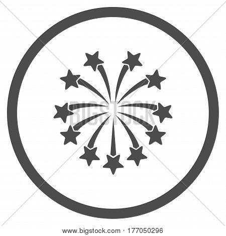 Spherical Fireworks rounded icon. Vector illustration style is flat iconic symbol inside circle, gray color, white background.