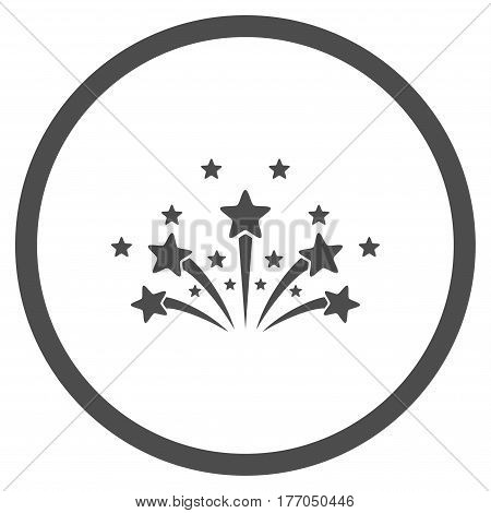 Star Fireworks rounded icon. Vector illustration style is flat iconic symbol inside circle, gray color, white background.
