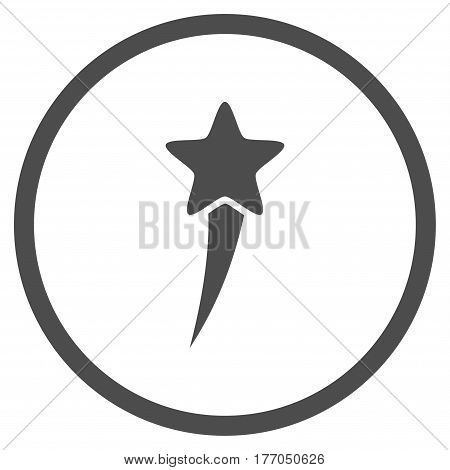 Starting Star rounded icon. Vector illustration style is flat iconic symbol inside circle, gray color, white background.