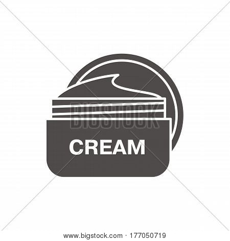 Face cream jar icon. Silhouette symbol. Cosmetics. Negative space. Vector isolated illustration