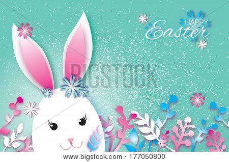 Cute Origami Funny Bunny - little farm animal. Oval shape. Happy Easter Greeting card. Space for text. Paper cut flower. Vector illustration.