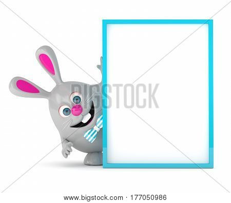 3D Rendering Of Easter Bunny Holding Board