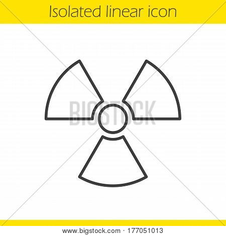 Radiation sign linear icon. Nuclear energy thin line illustration. Radioactive danger contour symbol. Vector isolated outline drawing