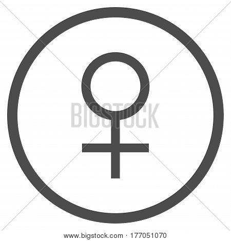 Venus Female Symbol rounded icon. Vector illustration style is flat iconic symbol inside circle, gray color, white background.