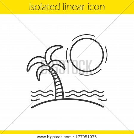 Tropical island linear icon. Thin line illustration. Seashore with with sun, waves and palm tree. Seashore vacation contour symbol. Vector isolated outline drawing