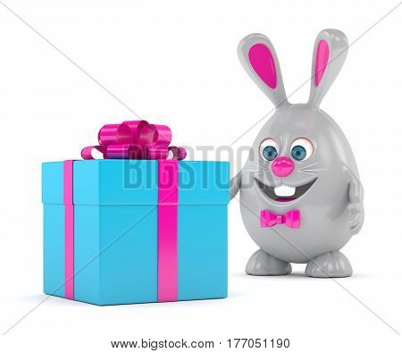 3D Rendering Of Easter Bunny With Present
