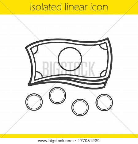 Money linear icon. Cash thin line illustration. Banknotes and coins contour symbol. Vector isolated outline drawing