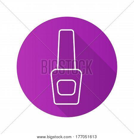 Nail polish bottle. Flat linear long shadow icon. Purple nailpolish. Vector line symbol