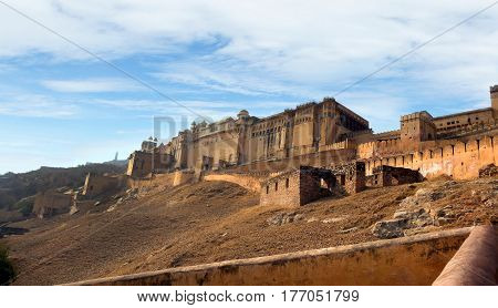 Walls Of Amber Palace, A Town Near Jaipur, Rajasthan State, India.