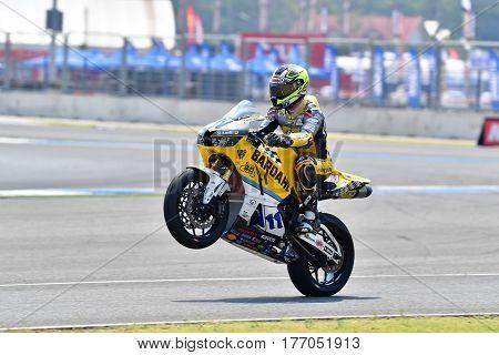BURIRAM - MARCH 11: Christian Gamarino #11 of Italy with Honda CBR600RR in The Supersport World Championship (WorldSSP) at Chang International Circuit on March 11 2017 in Buriram Thailand.
