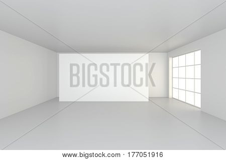 interior blank billboards standing on floor in white room. 3d rendering.