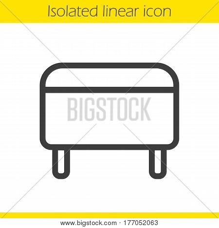 Ottoman linear icon. Pouf thin line illustration. Footstool contour symbol. Vector isolated outline drawing