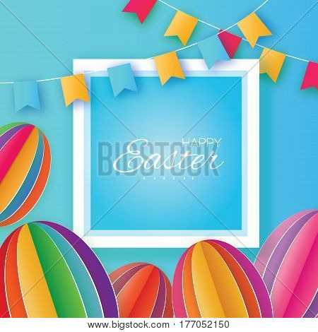 Origami Happy Easter Greeting card. Colorful Paper cut Easter Egg, flags. Square frame. Oval shape. Blue background. Vector illustration.