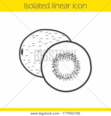 Kiwi fruit linear icon. Thin line illustration. Contour symbol. Vector isolated outline drawing