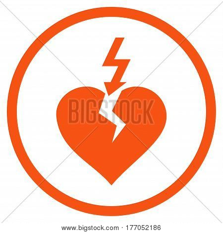 Break Heart rounded icon. Vector illustration style is flat iconic symbol inside circle, orange color, white background.