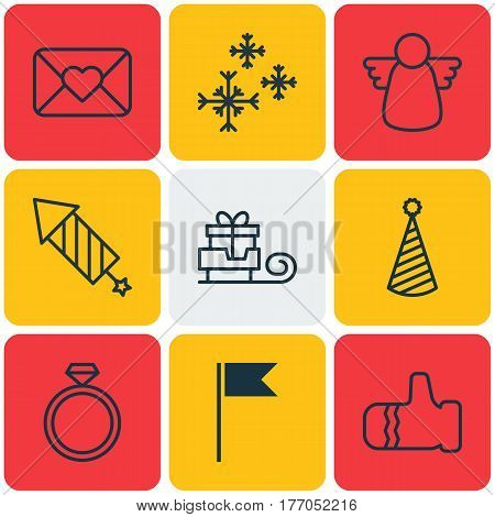 Set Of 9 Celebration Icons. Includes Archangel, Mitten, Flag Point And Other Symbols. Beautiful Design Elements.