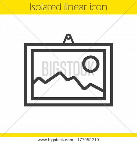 Wall painting linear icon. Thin line illustration. Framed landscape picture contour symbol. Vector isolated outline drawing